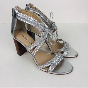 Via Spiga Braided Silver Leather Sandals Heels 8